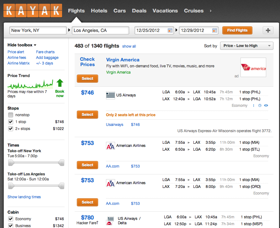 Search cheap flights with KAYAK. Search for the cheapest airline tickets for all the top airlines around the world and the top international flight routes. KAYAK searches hundreds of travel sites to help you find cheap airfare and book a flight that suits you best. Since KAYAK searches many plane tickets sites at once, you can find cheap.