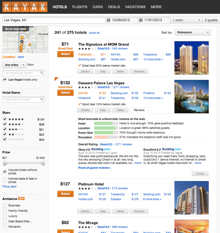 aggregated hotel user reviews and a simpler homepage