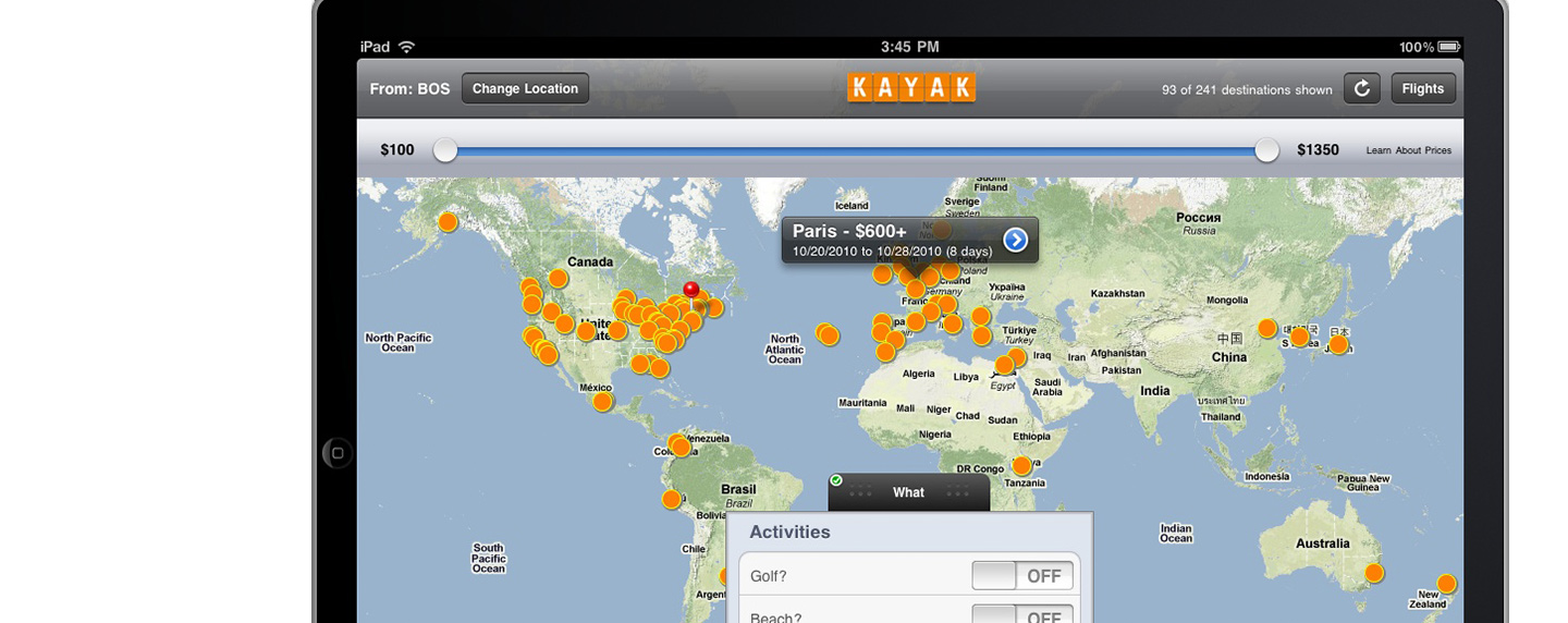 KAYAK adds mapbased search tool to the sites popular iPad app – App Travel Map