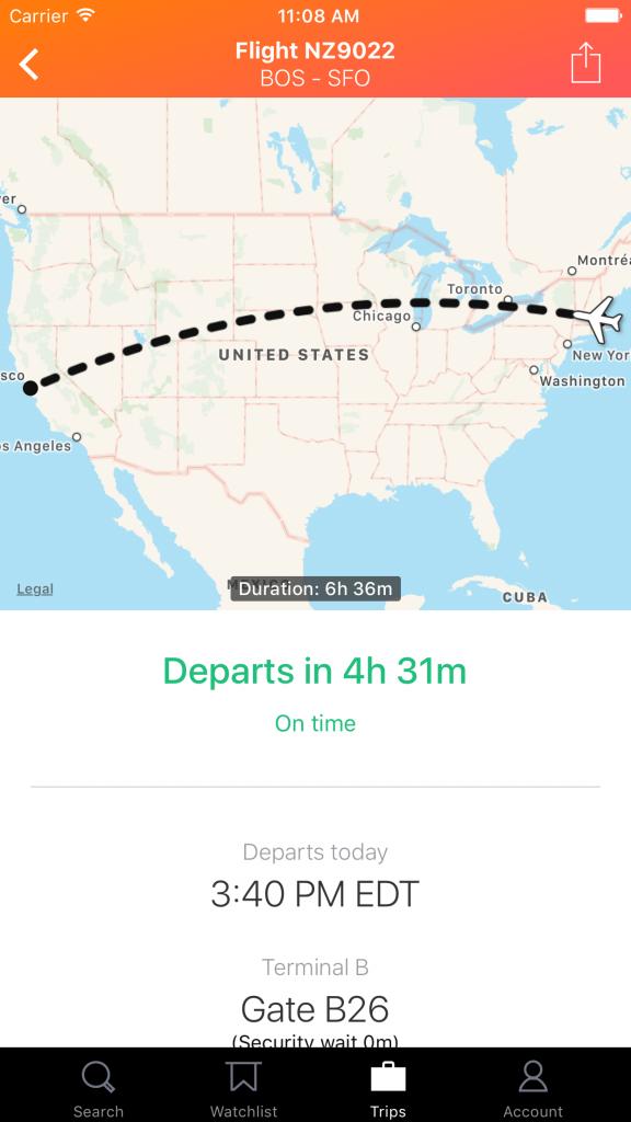 KAYAK Flight Tracker on iPhone