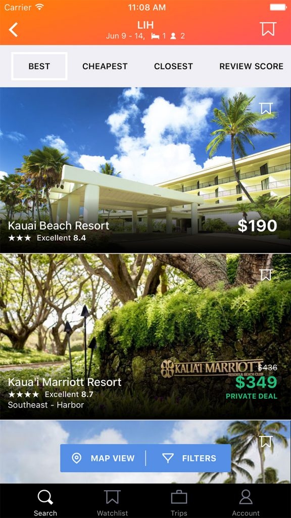 KAYAK Hotel Deals on a iPhone